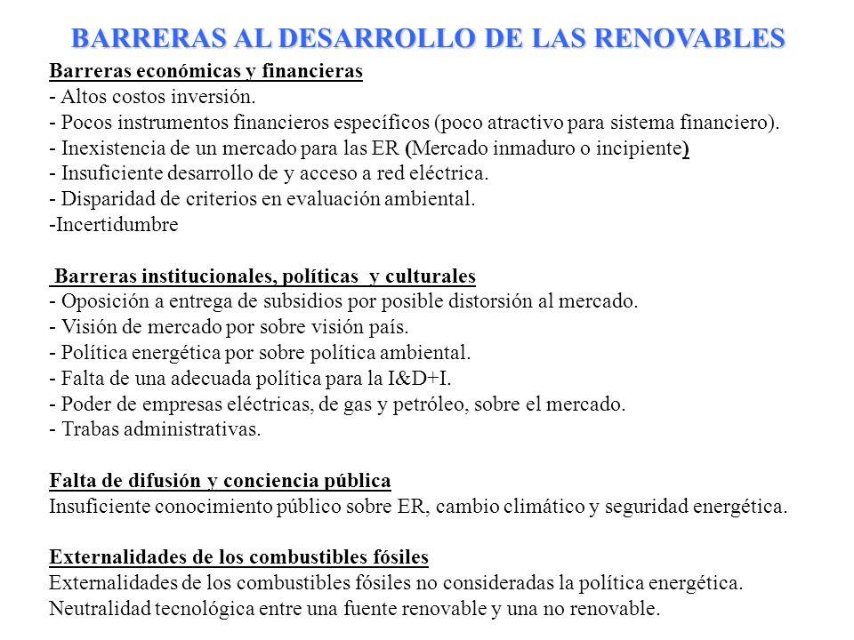 14 Barreras económicas y financieras - Altos costos inversión. - Pocos instrumentos financieros específicos (poco atractivo para sistema financiero).