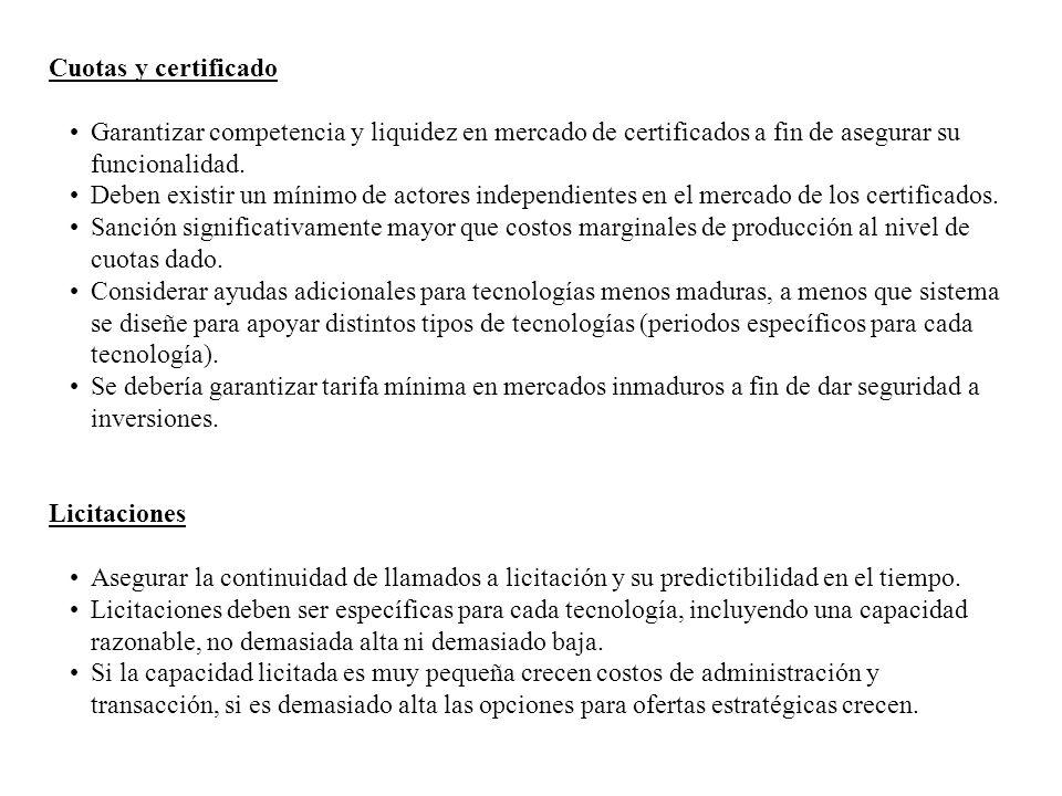 16 Cuotas y certificado Garantizar competencia y liquidez en mercado de certificados a fin de asegurar su funcionalidad. Deben existir un mínimo de ac