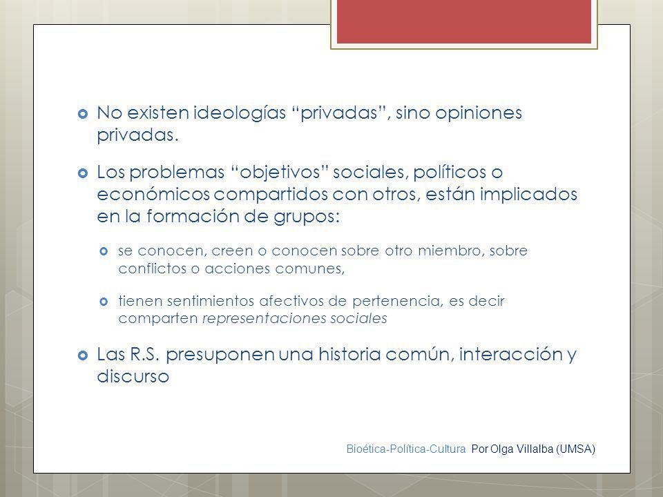 Bioética-Política-Cultura Por Olga Villalba (UMSA) No existen ideologías privadas, sino opiniones privadas. Los problemas objetivos sociales, político