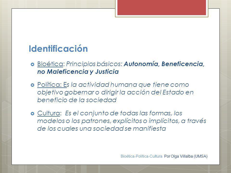 Bioética-Política-Cultura Por Olga Villalba (UMSA) Identificación Bioética: Principios básicos: Autonomía, Beneficencia, no Maleficencia y Justicia Po