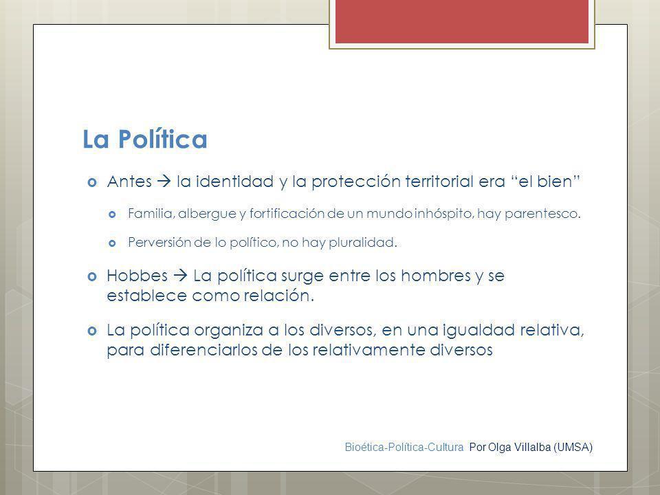 Bioética-Política-Cultura Por Olga Villalba (UMSA) La Política Antes la identidad y la protección territorial era el bien Familia, albergue y fortific