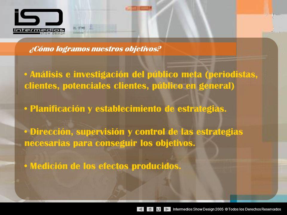 Intermedios Show Design 2005 © Todos los Derechos Reservados Análisis e investigación del público meta (periodistas, clientes, potenciales clientes, p