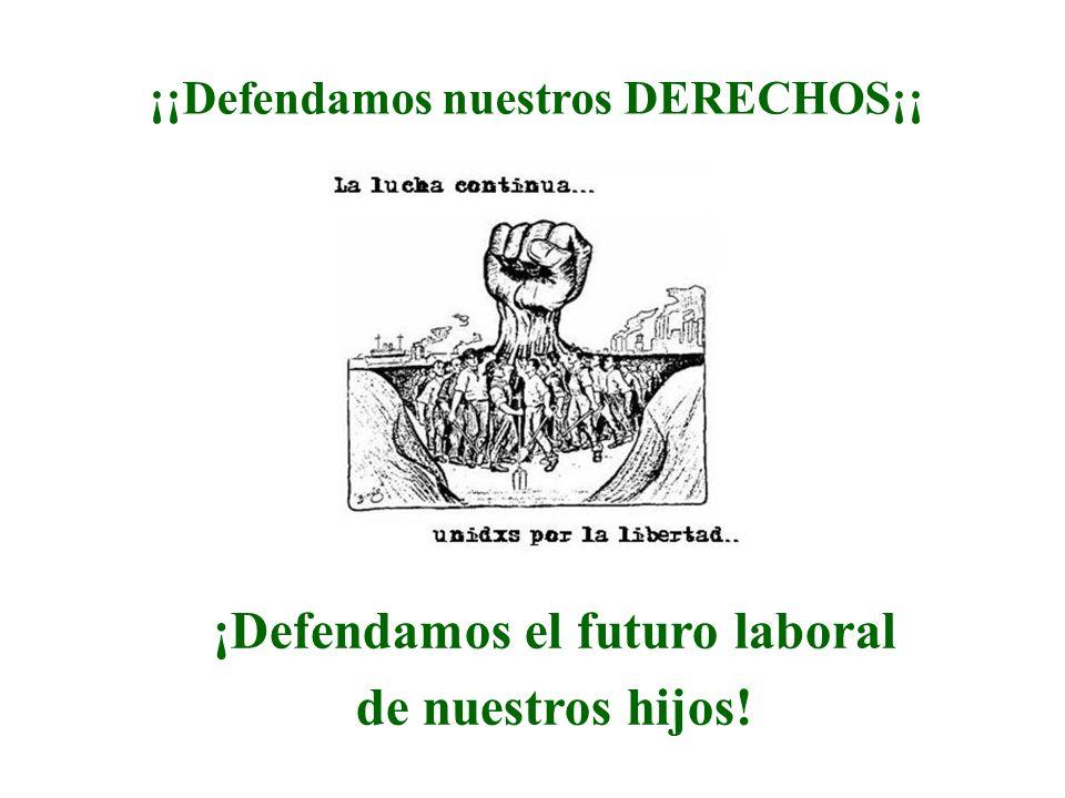 ¡Defendamos el futuro laboral de nuestros hijos! ¡¡Defendamos nuestros DERECHOS¡¡