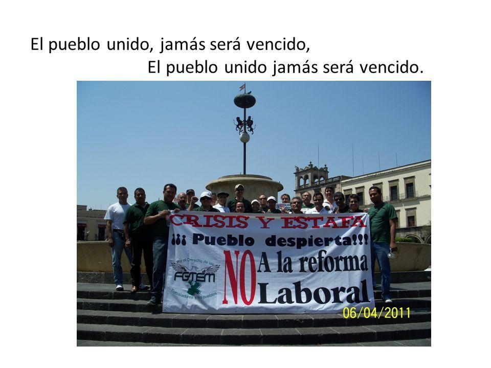 El pueblo unido, jamás será vencido, El pueblo unido jamás será vencido.