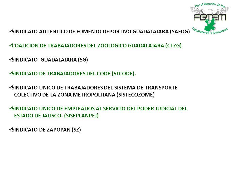 SINDICATO AUTENTICO DE FOMENTO DEPORTIVO GUADALAJARA (SAFDG) COALICION DE TRABAJADORES DEL ZOOLOGICO GUADALAJARA (CTZG) SINDICATO GUADALAJARA (SG) SINDICATO DE TRABAJADORES DEL CODE (STCODE).