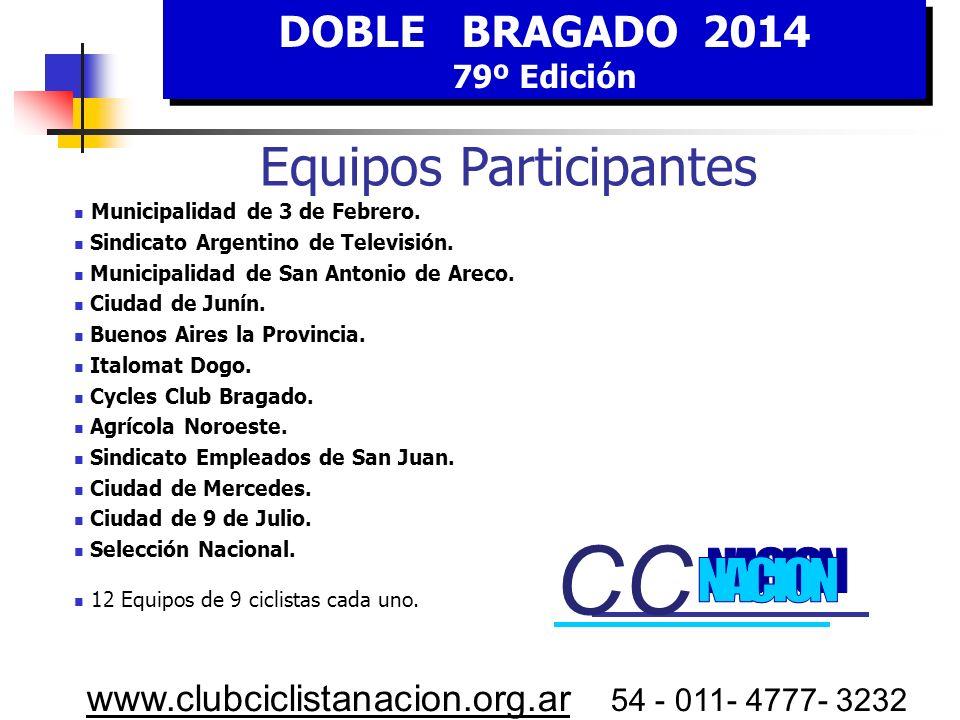 DOBLE BRAGADO 2014 79º Edición DOBLE BRAGADO 2014 79º Edición www.clubciclistanacion.org.ar 54 - 011- 4777- 3232 C omisarios Sr. Jorge QUIROGA Sr. Gab