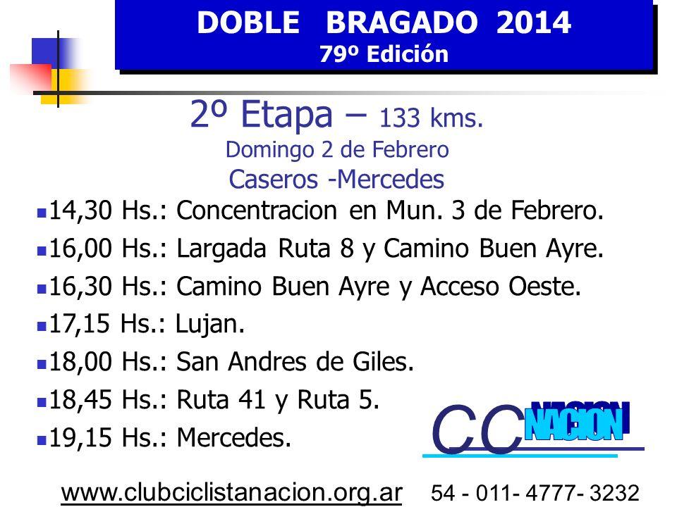 DOBLE BRAGADO 2014 79º Edición DOBLE BRAGADO 2014 79º Edición www.clubciclistanacion.org.ar 54 - 011- 4777- 3232 Lujan Calle 29 San Andrés de Giles 5