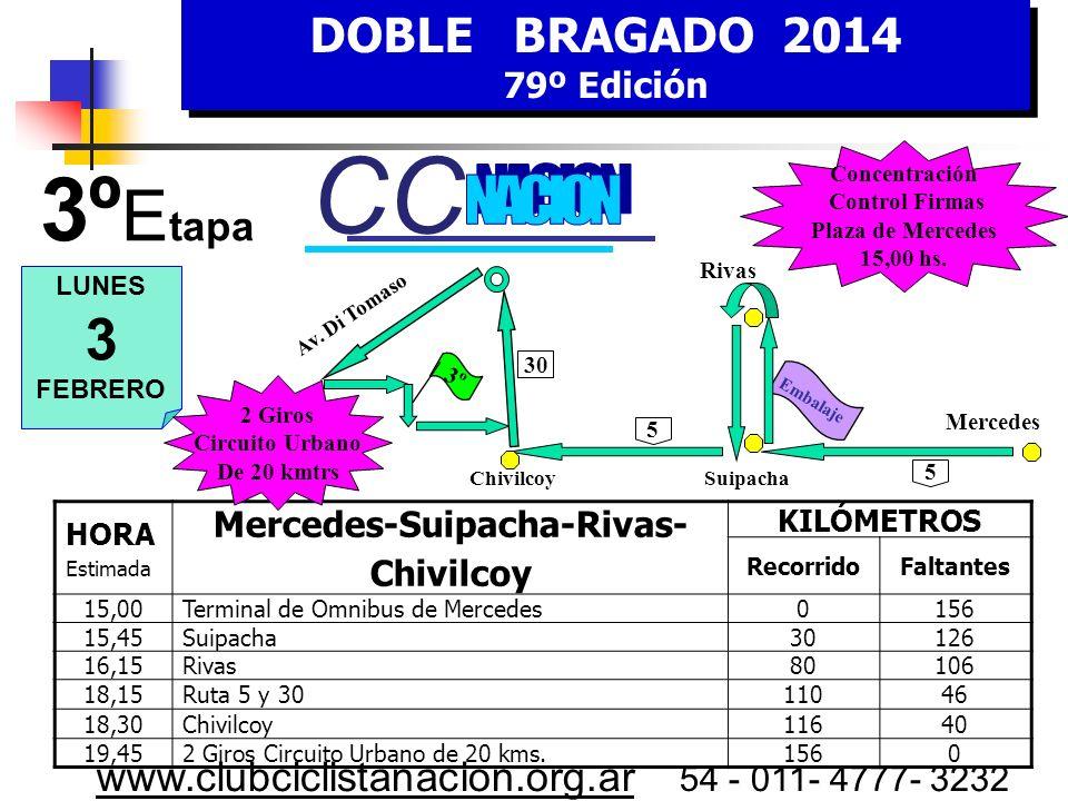 DOBLE BRAGADO 2014 79º Edición DOBLE BRAGADO 2014 79º Edición www.clubciclistanacion.org.ar 54 - 011- 4777- 3232 2º Etapa – 133 kms. Domingo 2 de Febr