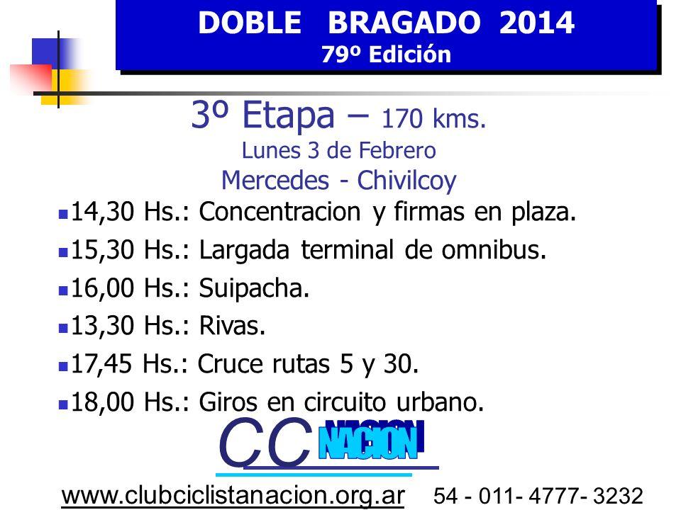 DOBLE BRAGADO 2014 79º Edición DOBLE BRAGADO 2014 79º Edición www.clubciclistanacion.org.ar 54 - 011- 4777- 3232 3º E tapa LUNES 3 FEBRERO HORA Estima