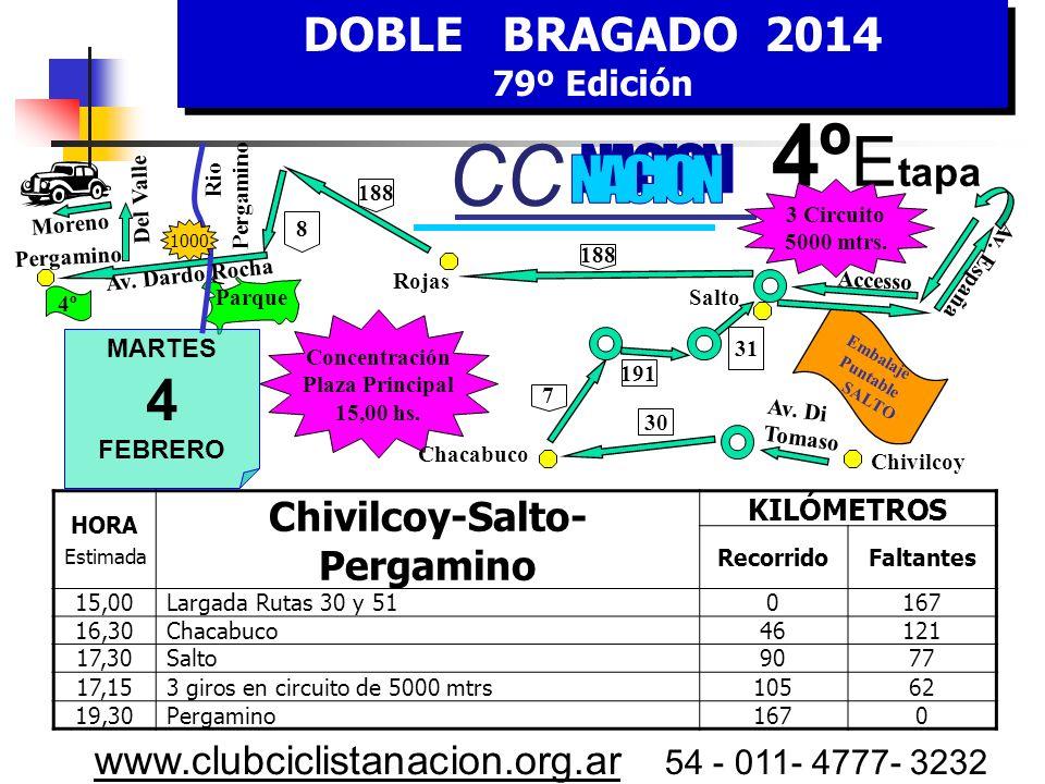 DOBLE BRAGADO 2014 79º Edición DOBLE BRAGADO 2014 79º Edición www.clubciclistanacion.org.ar 54 - 011- 4777- 3232 3º Etapa – 170 kms. Lunes 3 de Febrer