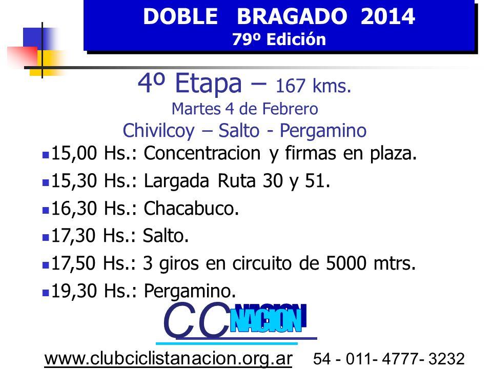 DOBLE BRAGADO 2014 79º Edición DOBLE BRAGADO 2014 79º Edición www.clubciclistanacion.org.ar 54 - 011- 4777- 3232 4º E tapa MARTES 4 FEBRERO HORA Estim