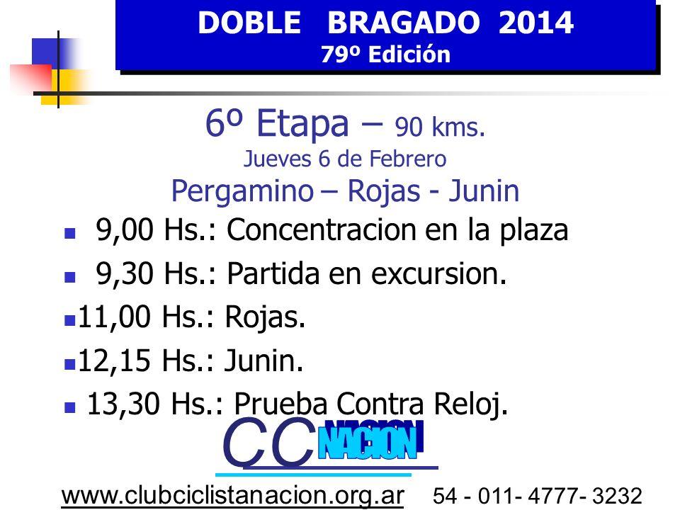 DOBLE BRAGADO 2014 79º Edición DOBLE BRAGADO 2014 79º Edición www.clubciclistanacion.org.ar 54 - 011- 4777- 3232 6º E tapa JUEVES 6 FEBRERO HORA Estim