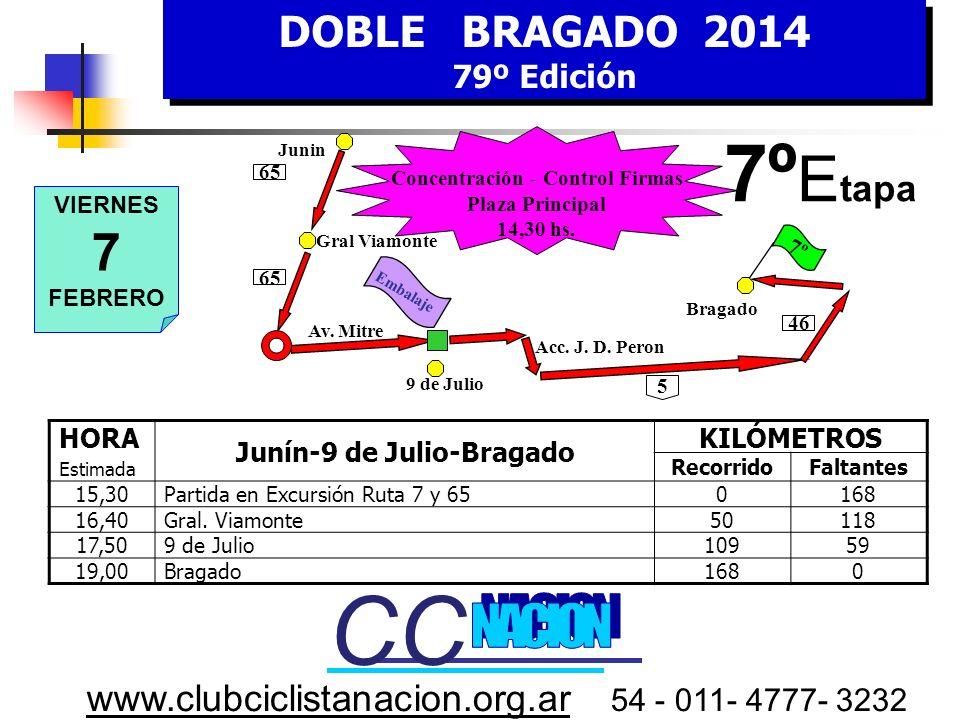 DOBLE BRAGADO 2014 79º Edición DOBLE BRAGADO 2014 79º Edición www.clubciclistanacion.org.ar 54 - 011- 4777- 3232 6º Etapa – 90 kms. Jueves 6 de Febrer