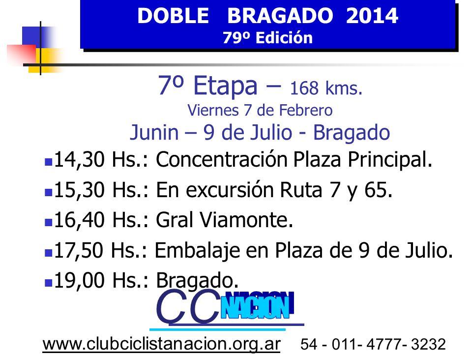 DOBLE BRAGADO 2014 79º Edición DOBLE BRAGADO 2014 79º Edición www.clubciclistanacion.org.ar 54 - 011- 4777- 3232 7º E tapa VIERNES 7 FEBRERO HORA Esti