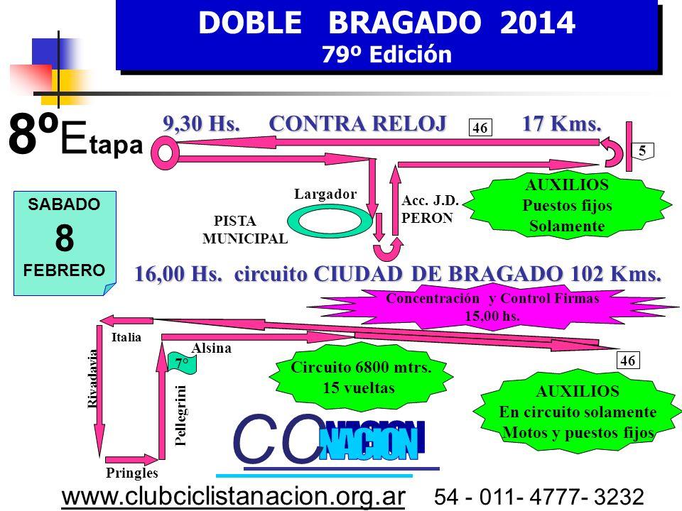 DOBLE BRAGADO 2014 79º Edición DOBLE BRAGADO 2014 79º Edición www.clubciclistanacion.org.ar 54 - 011- 4777- 3232 7º Etapa – 168 kms. Viernes 7 de Febr