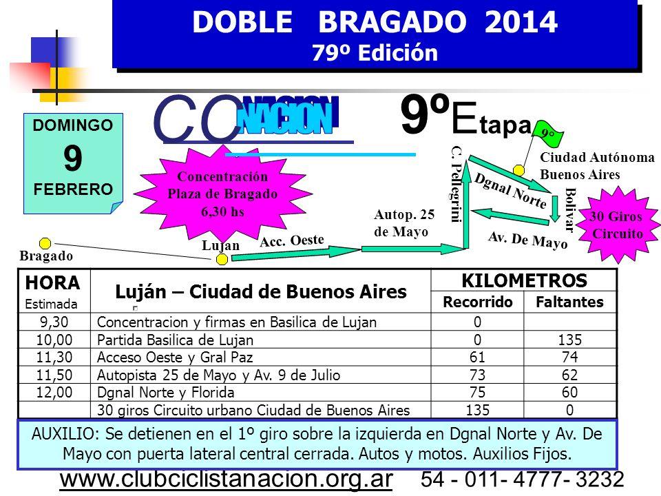DOBLE BRAGADO 2014 79º Edición DOBLE BRAGADO 2014 79º Edición www.clubciclistanacion.org.ar 54 - 011- 4777- 3232 8º Etapa Sábado 8 de Febrero Prueba C