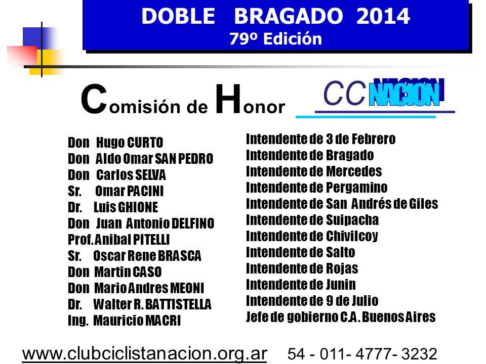 DOBLE BRAGADO 2014 79º Edición DOBLE BRAGADO 2014 79º Edición www.clubciclistanacion.org.ar 54 - 011- 4777- 3232 1 / 2 : Prólogo en Ciudad de Buenos A