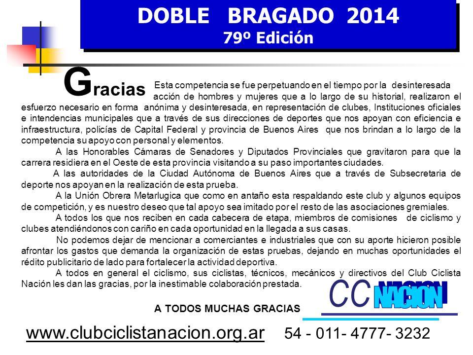 DOBLE BRAGADO 2014 79º Edición DOBLE BRAGADO 2014 79º Edición www.clubciclistanacion.org.ar 54 - 011- 4777- 3232 C omisión de H onor Don Hugo CURTO Do