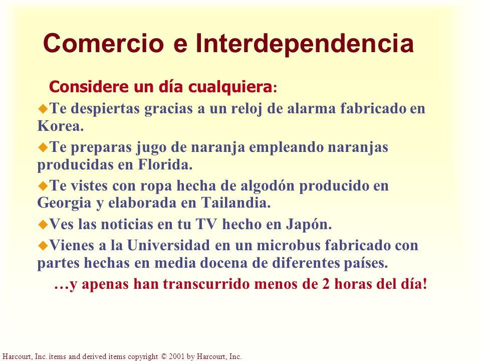 Harcourt, Inc. items and derived items copyright © 2001 by Harcourt, Inc. Comercio e Interdependencia Considere un día cualquiera : u Te despiertas gr