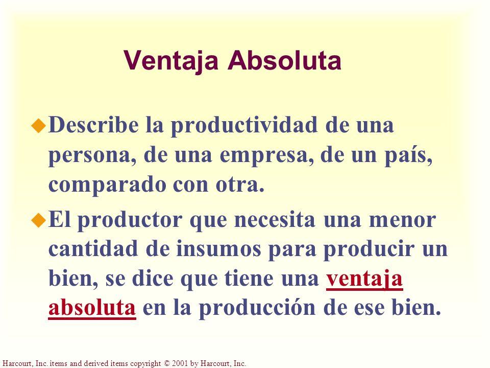 Harcourt, Inc. items and derived items copyright © 2001 by Harcourt, Inc. Ventaja Absoluta u Describe la productividad de una persona, de una empresa,