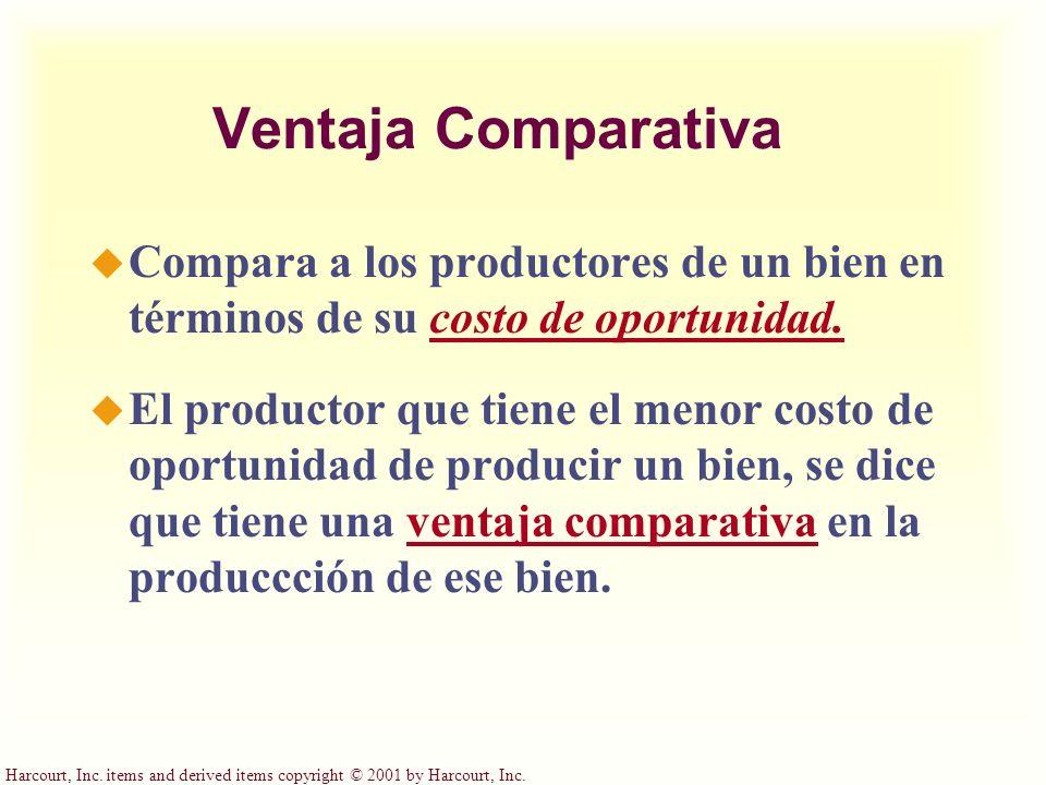 Harcourt, Inc. items and derived items copyright © 2001 by Harcourt, Inc. Ventaja Comparativa u Compara a los productores de un bien en términos de su