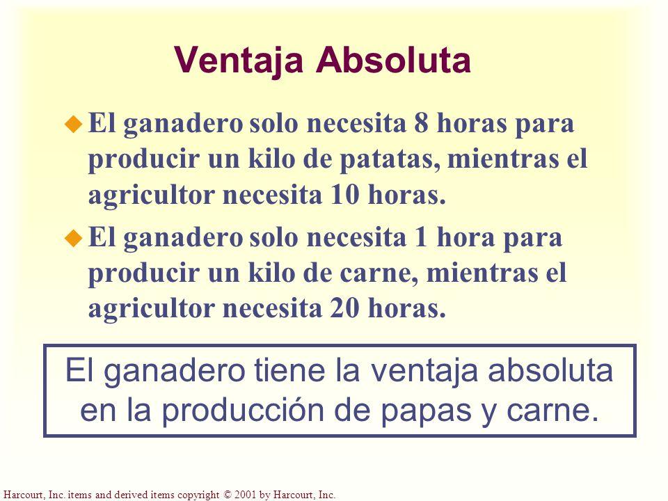 Harcourt, Inc. items and derived items copyright © 2001 by Harcourt, Inc. Ventaja Absoluta u El ganadero solo necesita 8 horas para producir un kilo d