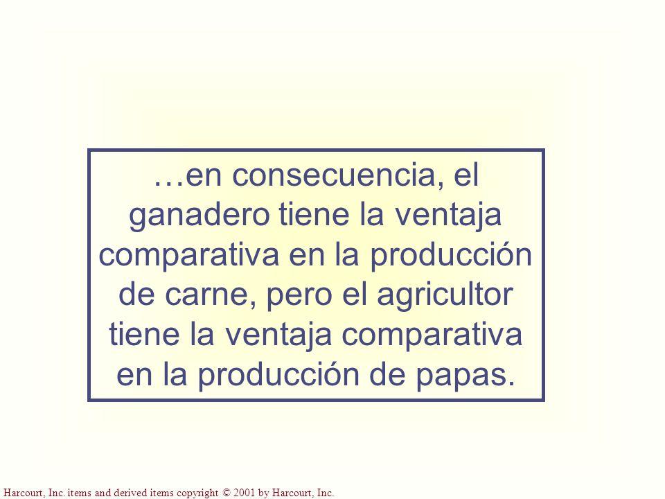 Harcourt, Inc. items and derived items copyright © 2001 by Harcourt, Inc. …en consecuencia, el ganadero tiene la ventaja comparativa en la producción