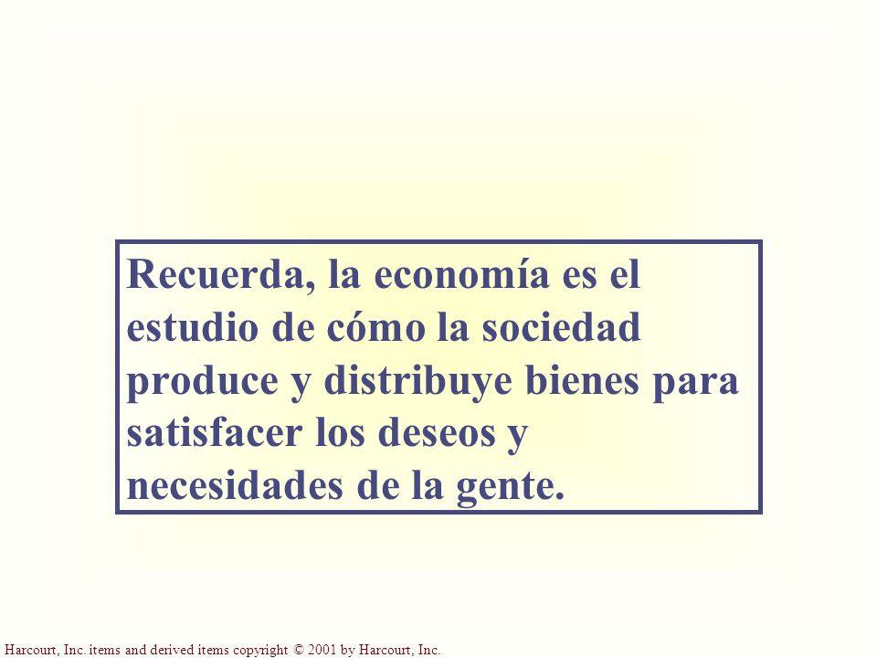 Harcourt, Inc. items and derived items copyright © 2001 by Harcourt, Inc. Recuerda, la economía es el estudio de cómo la sociedad produce y distribuye