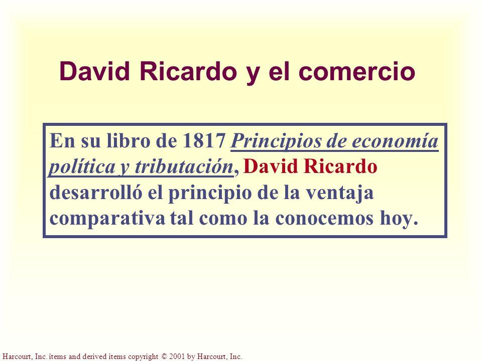 Harcourt, Inc. items and derived items copyright © 2001 by Harcourt, Inc. David Ricardo y el comercio En su libro de 1817 Principios de economía polít