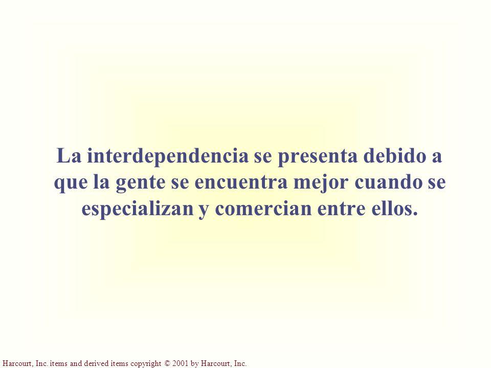 Harcourt, Inc. items and derived items copyright © 2001 by Harcourt, Inc. La interdependencia se presenta debido a que la gente se encuentra mejor cua