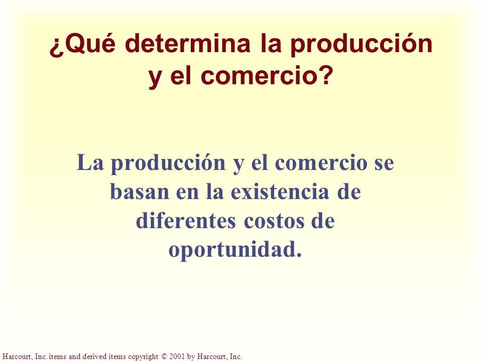 Harcourt, Inc. items and derived items copyright © 2001 by Harcourt, Inc. ¿Qué determina la producción y el comercio? La producción y el comercio se b
