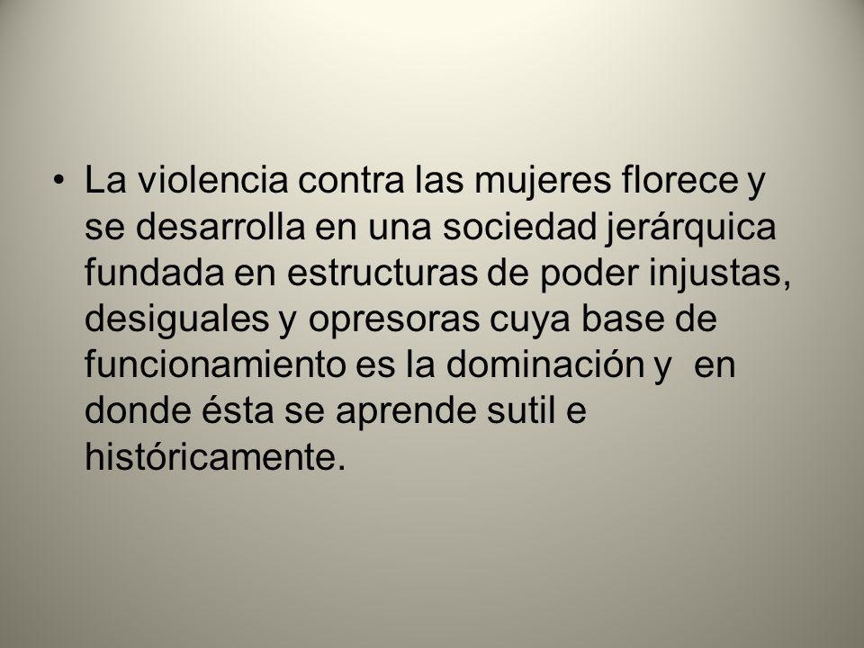 La violencia contra las mujeres florece y se desarrolla en una sociedad jerárquica fundada en estructuras de poder injustas, desiguales y opresoras cuya base de funcionamiento es la dominación y en donde ésta se aprende sutil e históricamente.
