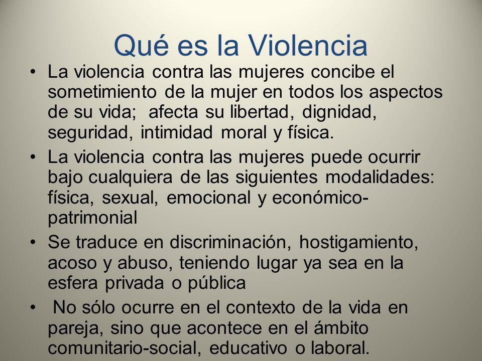 Qué es la Violencia La violencia contra las mujeres concibe el sometimiento de la mujer en todos los aspectos de su vida; afecta su libertad, dignidad, seguridad, intimidad moral y física.