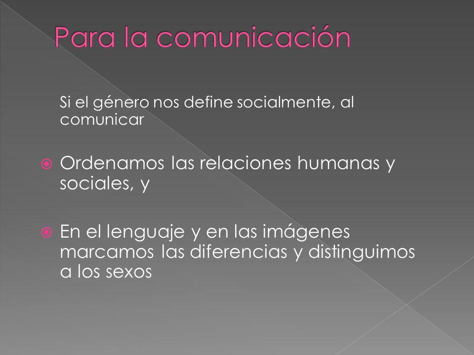 Si el género nos define socialmente, al comunicar Ordenamos las relaciones humanas y sociales, y En el lenguaje y en las imágenes marcamos las diferencias y distinguimos a los sexos