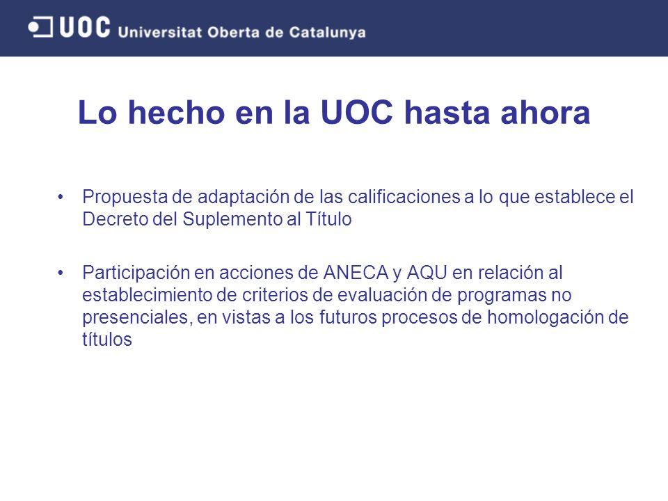 Propuesta de adaptación de las calificaciones a lo que establece el Decreto del Suplemento al Título Participación en acciones de ANECA y AQU en relación al establecimiento de criterios de evaluación de programas no presenciales, en vistas a los futuros procesos de homologación de títulos Lo hecho en la UOC hasta ahora