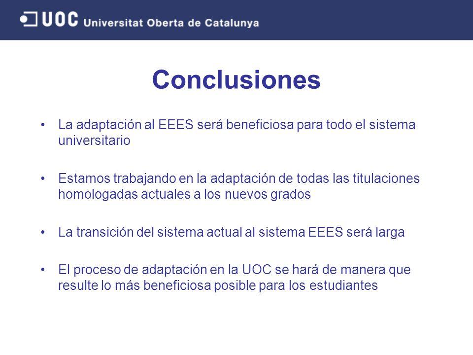Conclusiones La adaptación al EEES será beneficiosa para todo el sistema universitario Estamos trabajando en la adaptación de todas las titulaciones h