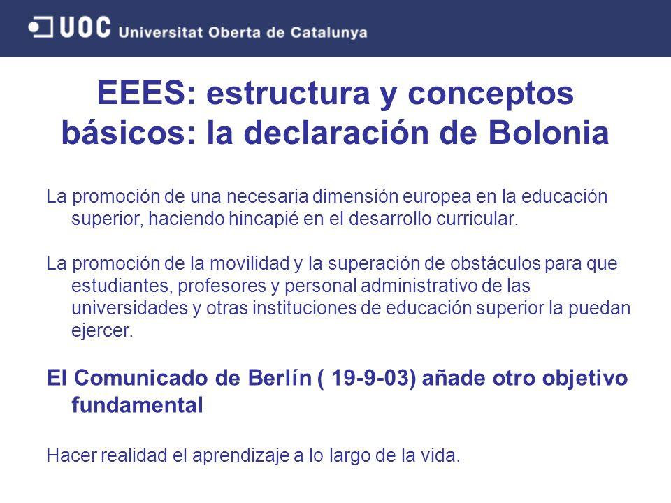 La promoción de una necesaria dimensión europea en la educación superior, haciendo hincapié en el desarrollo curricular.