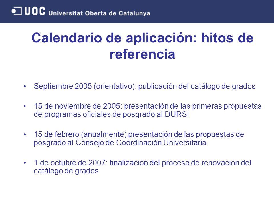 Calendario de aplicación: hitos de referencia Septiembre 2005 (orientativo): publicación del catálogo de grados 15 de noviembre de 2005: presentación de las primeras propuestas de programas oficiales de posgrado al DURSI 15 de febrero (anualmente) presentación de las propuestas de posgrado al Consejo de Coordinación Universitaria 1 de octubre de 2007: finalización del proceso de renovación del catálogo de grados