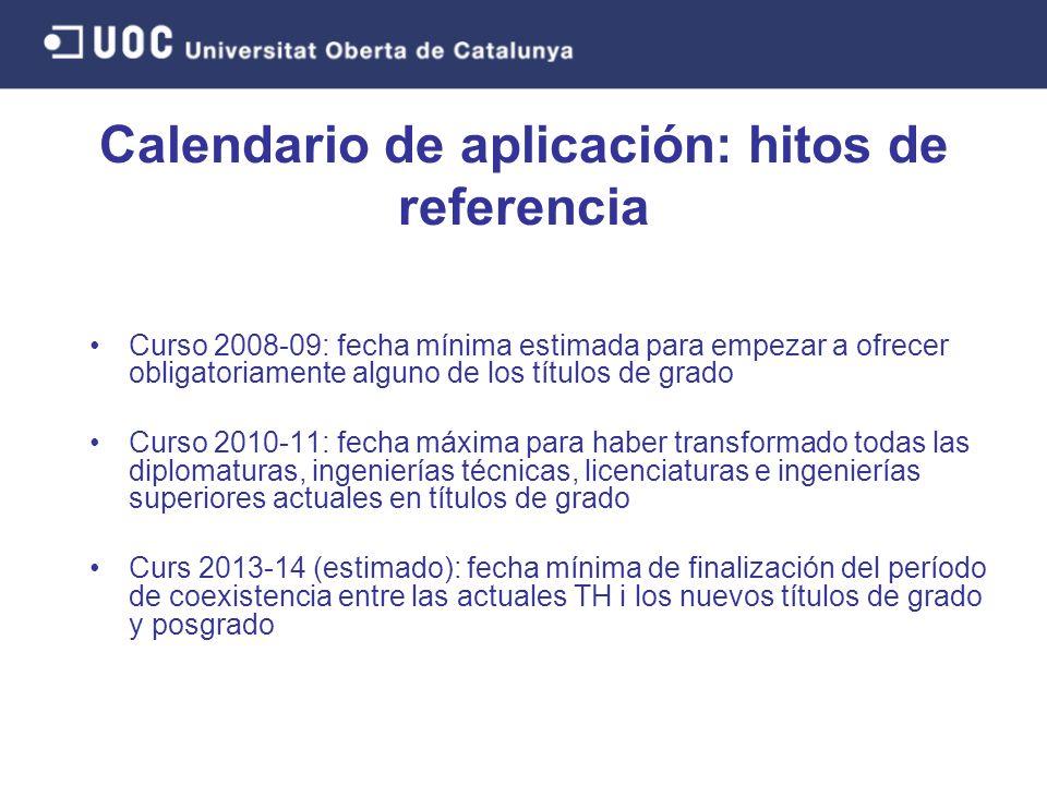 Curso 2008-09: fecha mínima estimada para empezar a ofrecer obligatoriamente alguno de los títulos de grado Curso 2010-11: fecha máxima para haber tra