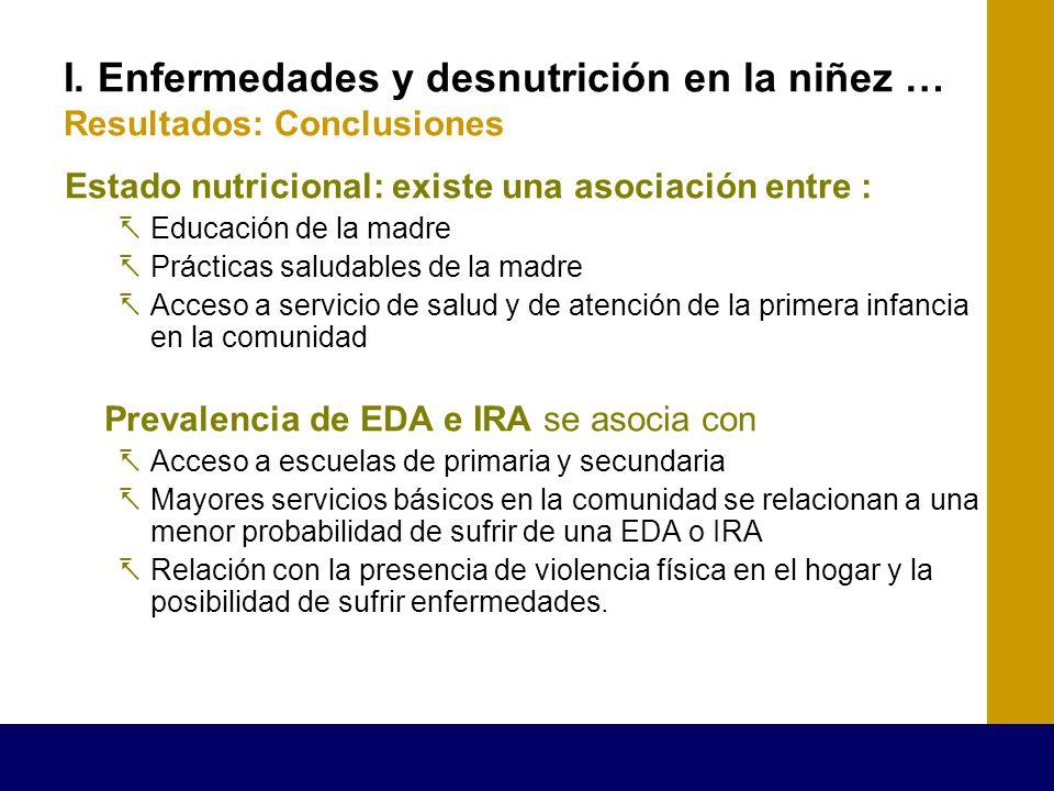 I. Enfermedades y desnutrición en la niñez … Resultados: Conclusiones Estado nutricional: existe una asociación entre : Educación de la madre Práctica