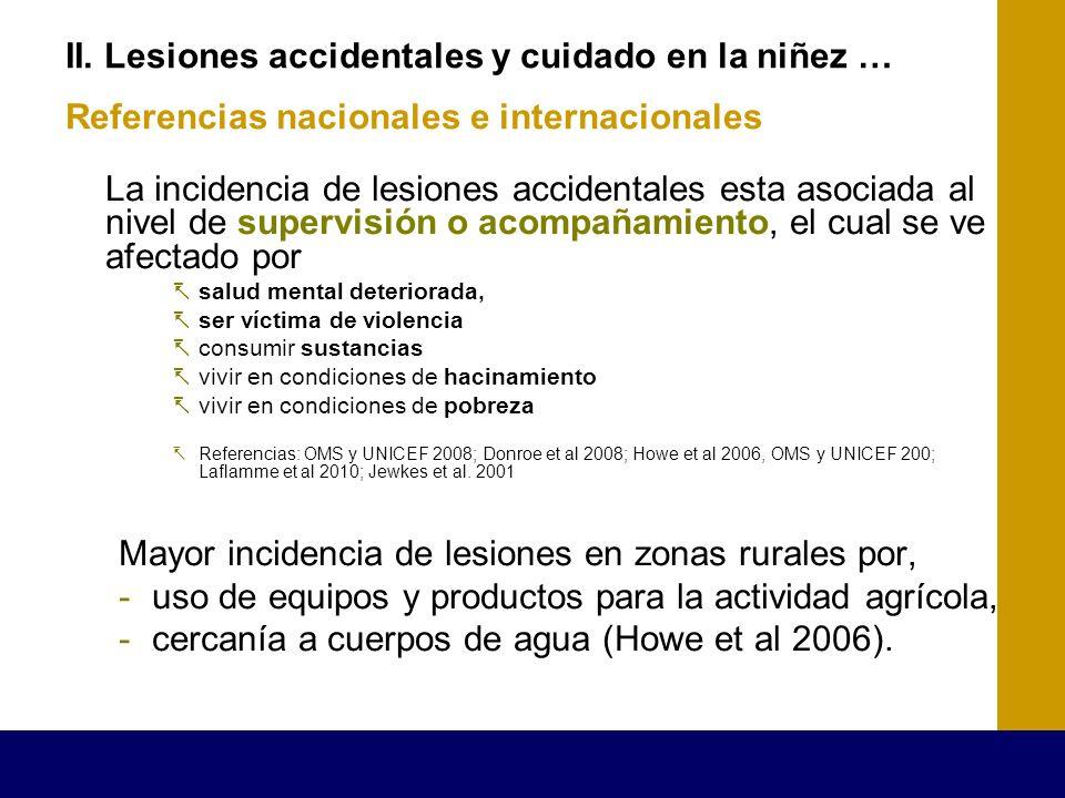 II. Lesiones accidentales y cuidado en la niñez … Referencias nacionales e internacionales La incidencia de lesiones accidentales esta asociada al niv