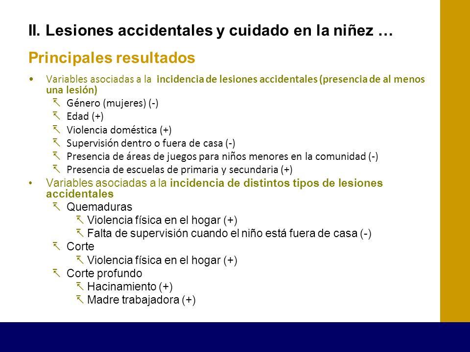 II. Lesiones accidentales y cuidado en la niñez … Principales resultados Variables asociadas a la incidencia de lesiones accidentales (presencia de al