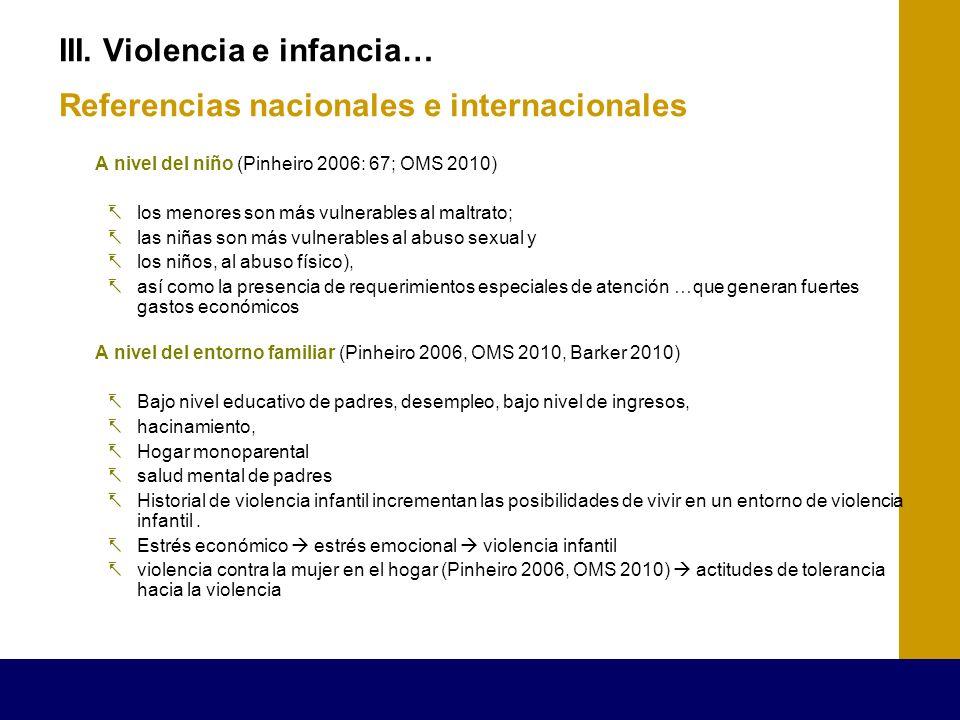 III. Violencia e infancia… Referencias nacionales e internacionales A nivel del niño (Pinheiro 2006: 67; OMS 2010) los menores son más vulnerables al
