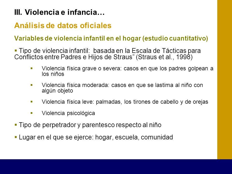 III. Violencia e infancia… Análisis de datos oficiales Variables de violencia infantil en el hogar (estudio cuantitativo) Tipo de violencia infantil: