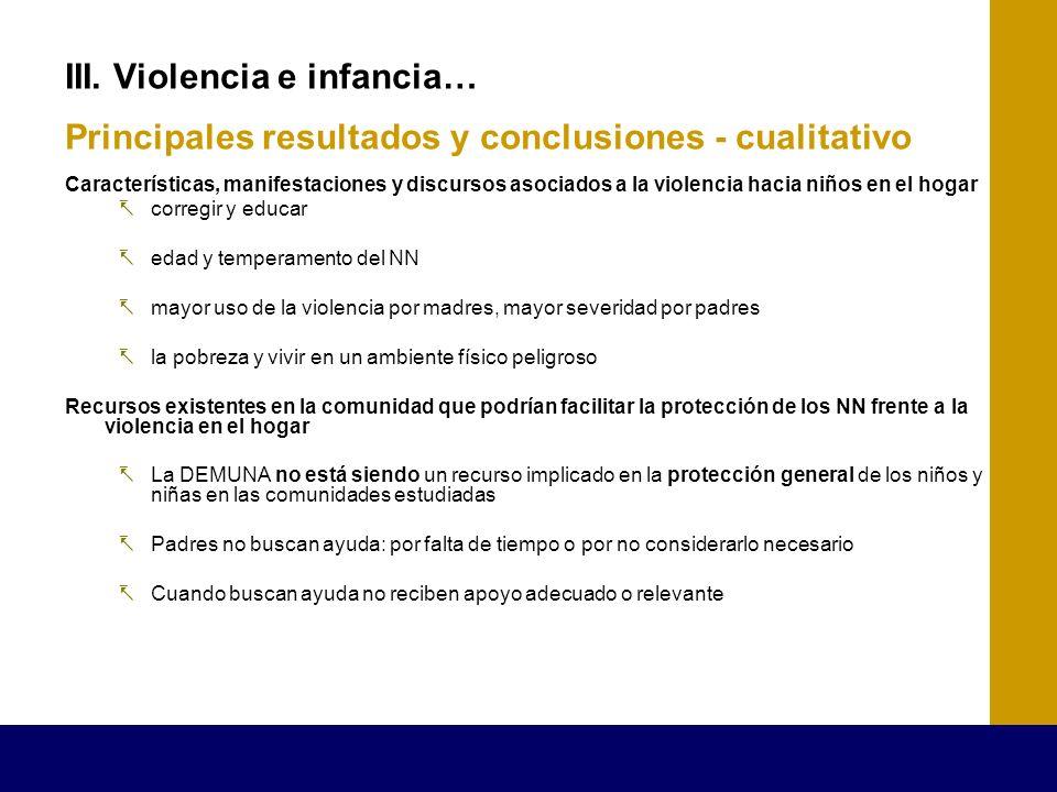 III. Violencia e infancia… Principales resultados y conclusiones - cualitativo Características, manifestaciones y discursos asociados a la violencia h