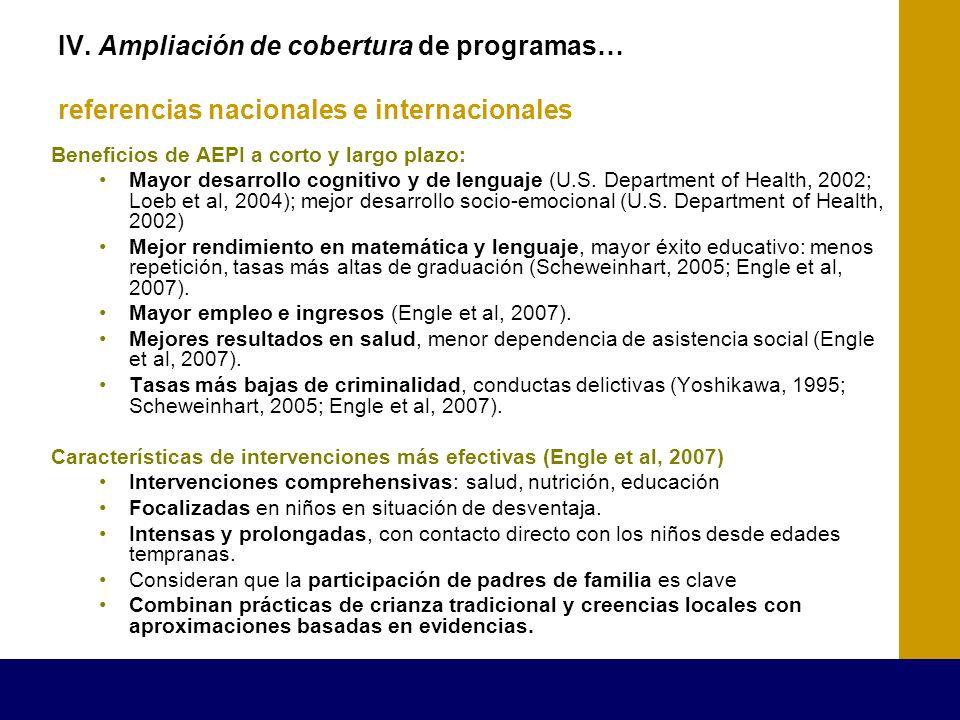 IV. Ampliación de cobertura de programas… referencias nacionales e internacionales Beneficios de AEPI a corto y largo plazo: Mayor desarrollo cognitiv