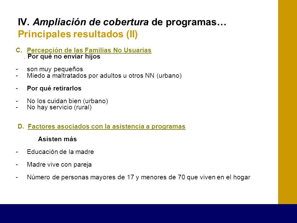 IV. Ampliación de cobertura de programas… Principales resultados (II) C.Percepción de las Familias No Usuarias. Por qué no enviar hijos -son muy peque