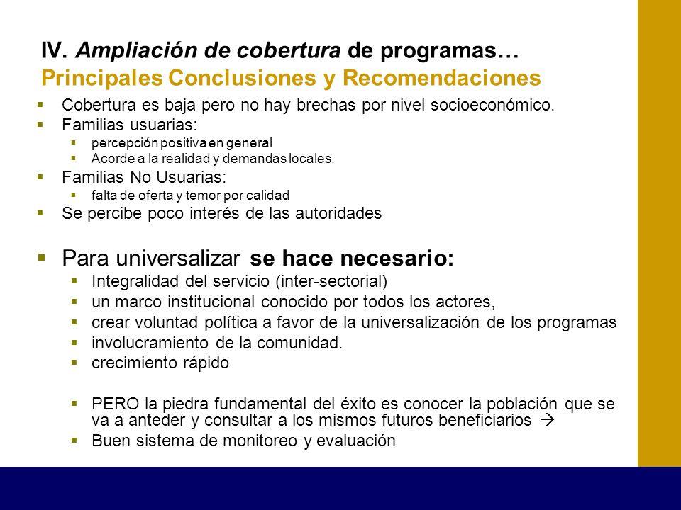 IV. Ampliación de cobertura de programas… Principales Conclusiones y Recomendaciones Cobertura es baja pero no hay brechas por nivel socioeconómico. F