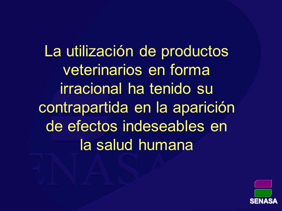 SENASA La utilización de productos veterinarios en forma irracional ha tenido su contrapartida en la aparición de efectos indeseables en la salud huma