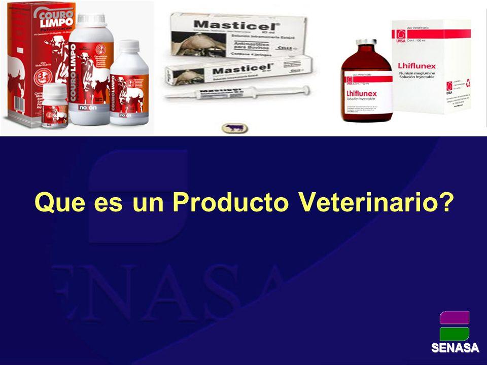 Aquel que se aplica a cualquier animal con fines: *Terapéuticos *Preventivos *Diagnóstico *Mejoradores de la producción SENASA